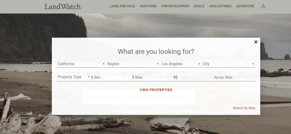 Searching for Property using LandWatch
