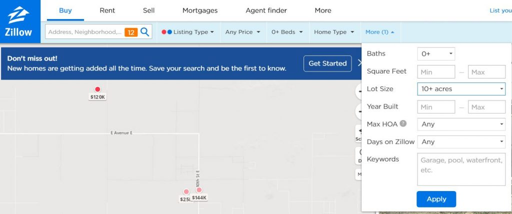 Vacant Land Search on Zillow