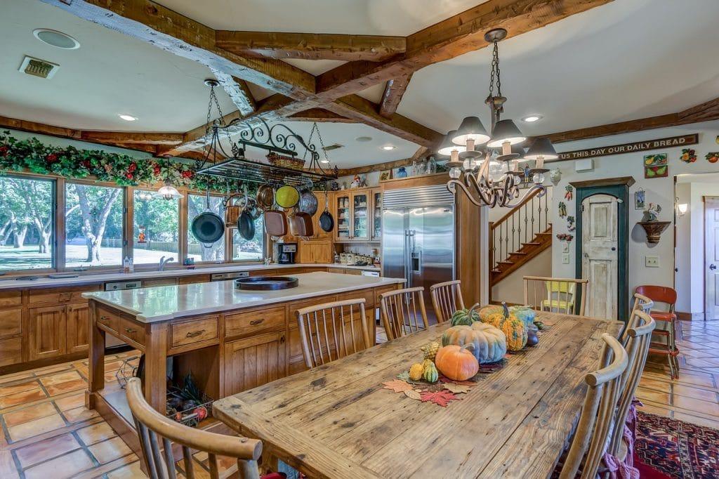 beautiful wood farmhouse kitchen table