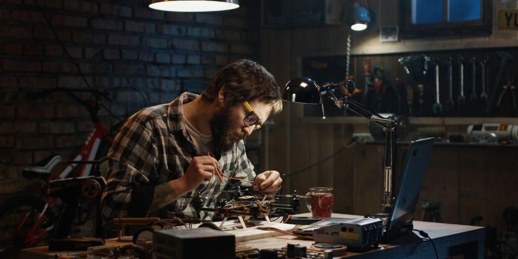 man working in garage