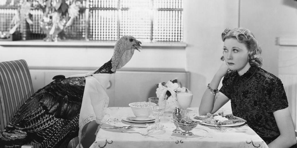 turkey eating at dinner table