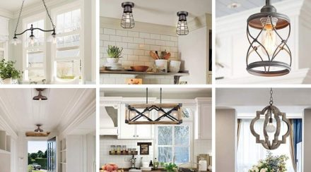 farmhouse style lighting options, collage of six options
