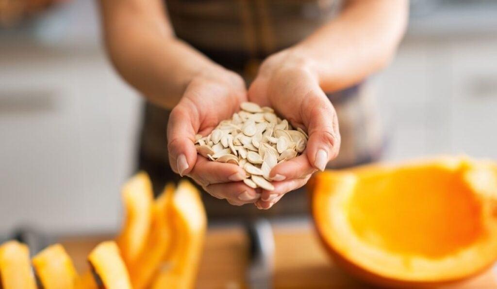 Pumpkin seeds and flesh