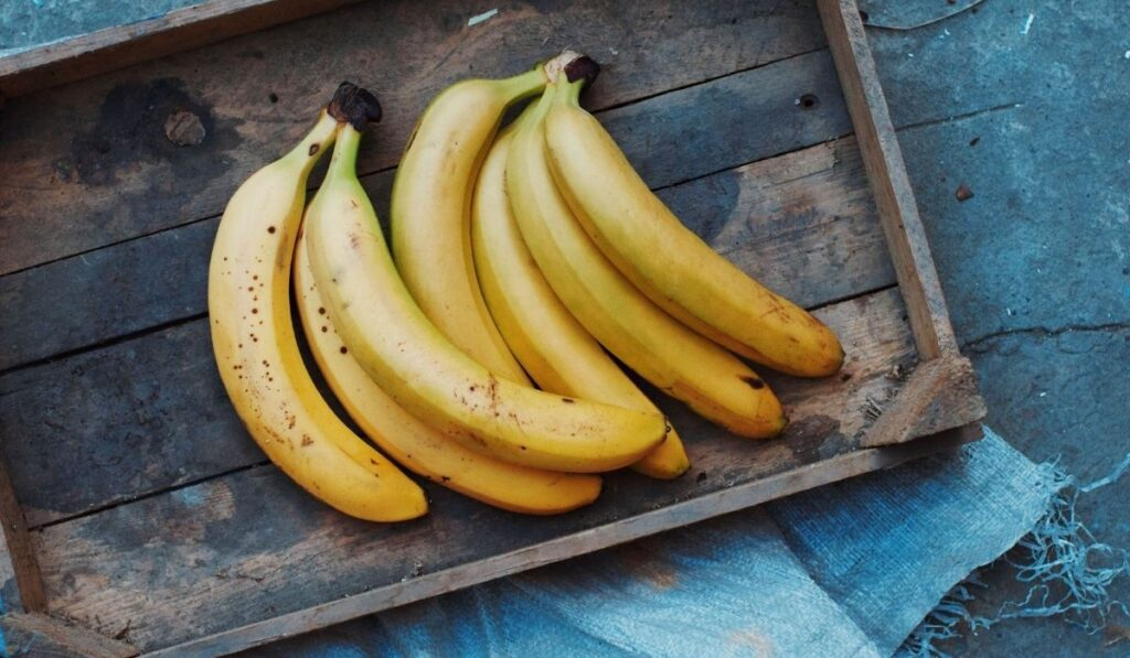 bananas inside the wooden box