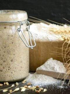 active sourdough starter in a glass jar and a bowl full of flour