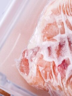 frozen chicken in the freezer