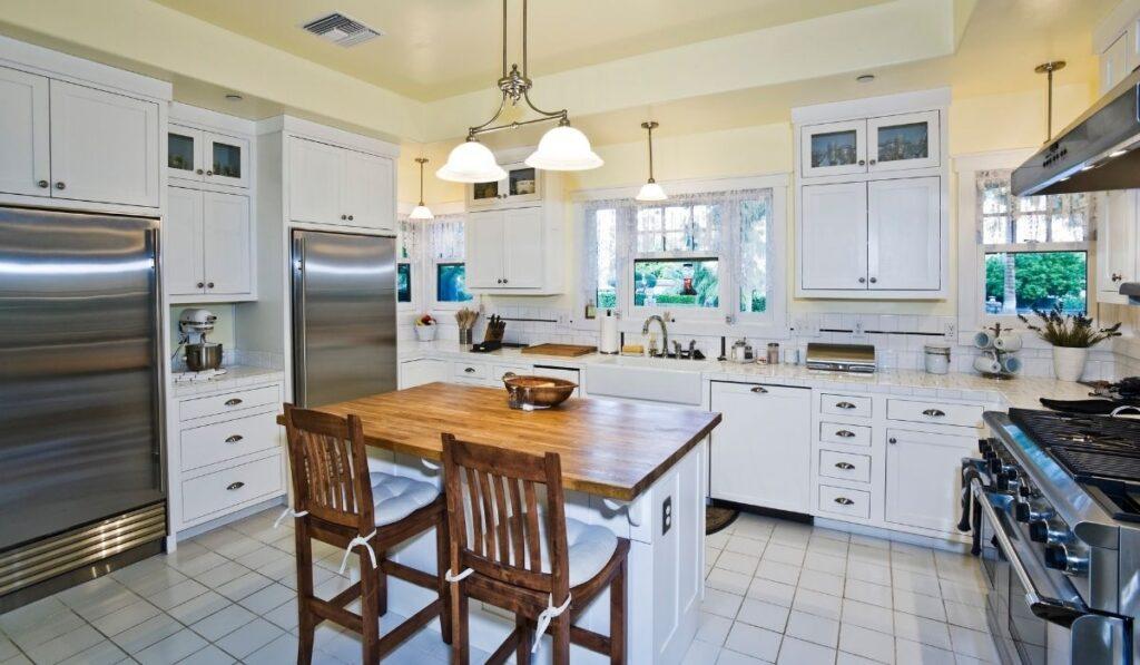 kitchen setup fridge and oven