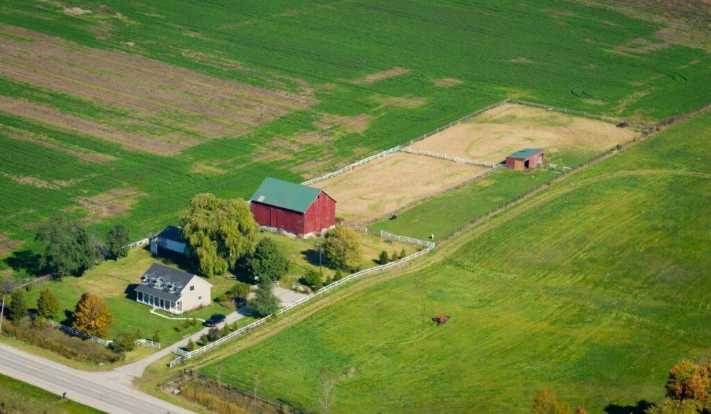 aerial view of a farm land