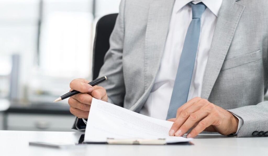 lawyer reviewing a contract