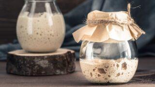 sourdough starter in a cute jar