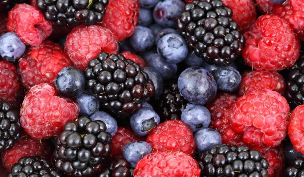 close up of blueberries and raspberries