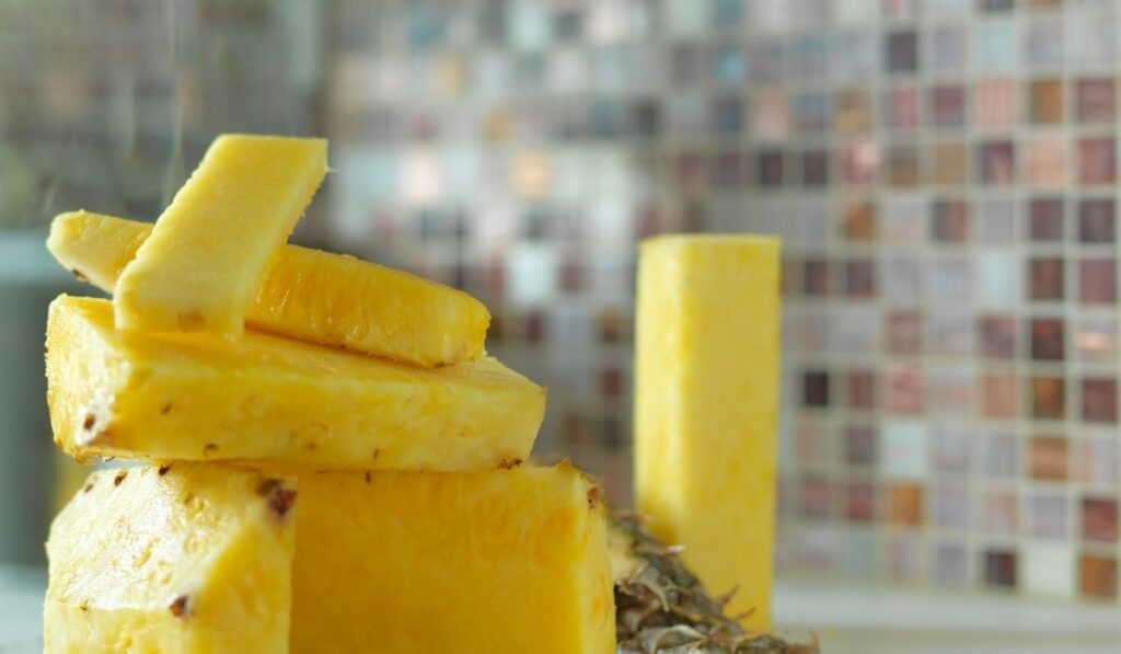 stacked pineapple and core