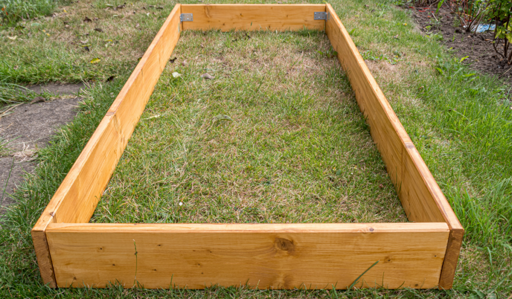 Empty raised bed on the garden.