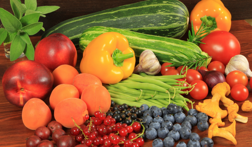 Fruits and vegetable on a wooden table