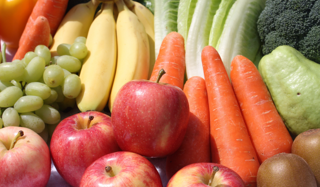 Closeup photo of fruits and vegetables.