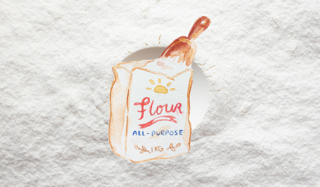An all-purpose flour with an illustration of it.