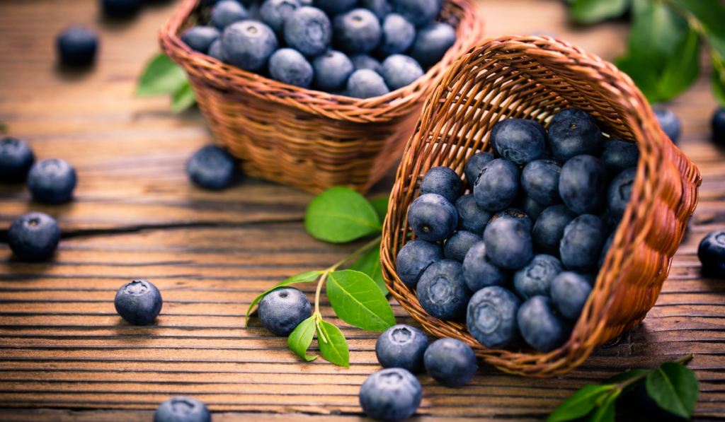 fresh blueberries in wooden little baskets
