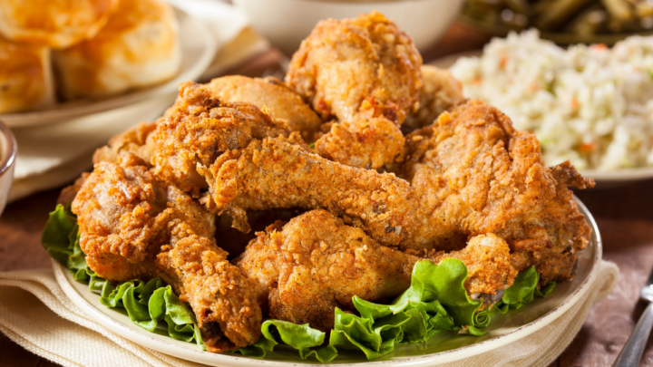 freshly cooked fried chicken